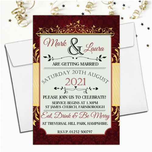10 Personalised Premium Wedding Invitations Day or Evening N74 Red & Gold Swirl